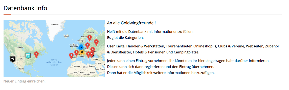 Honda GoldWing Treffen - Datenbank